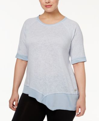 Calvin Klein Performance Plus Size Microstriped Ballet-Sleeve Top