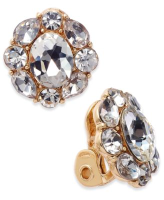 Image of Charter Club Gold-Tone Crystal Flower Clip-On Stud Earrings, Only at Macy's
