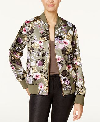 Say What? Juniors' Satin Floral-Print Bomber Jacket