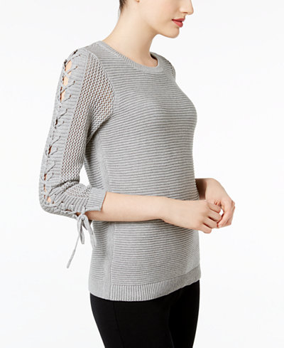 Calvin Klein Lace-Up Cotton Sweater