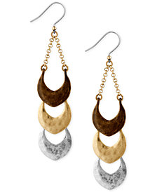 Lucky Brand Tri-Tone Triple Drop Earrings