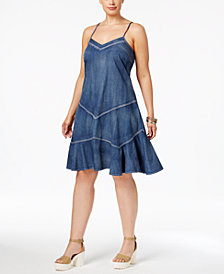Standards and Practices Trendy Plus Size Denim A-Line Dress