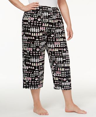Hue Plus Size Printed Knit Capri Pajama Pants - Bras, Panties ...