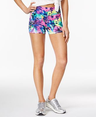 Material Girl Active Juniors' Printed Yoga Shorts, Only at Macy's