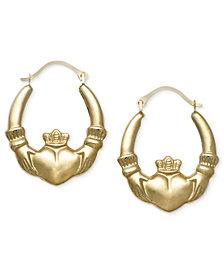 10k Gold Earrings, Claddagh Hoops