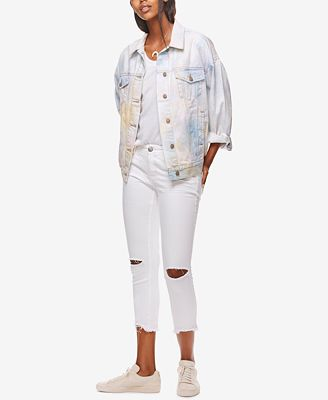 Free People Ripped Hong Kong White Wash Skinny Jeans