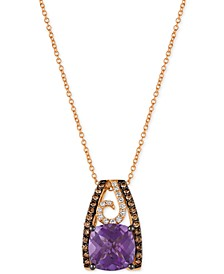 Chocolatier® Grape Amethyst™ (2-3/4 ct. t.w.) and Diamond (1/3 ct. t.w.) Pendant Necklace in 14k Rose Gold