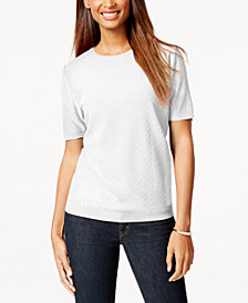 Alfred Dunner Textured Chevron Short-Sleeve Sweater