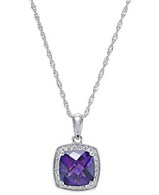 Amethyst (1-1/5 ct. t.w.) and Diamond (1/10 ct. t.w.) Pendant Necklace in 14k White Gold