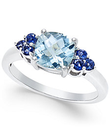 Aquamarine (1-1/3 ct. t.w.) and Iolite (1/3 ct. t.w.) Ring in 14k White Gold
