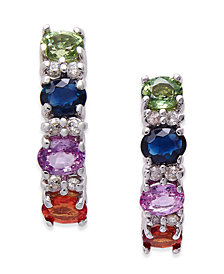 Multi-Sapphire (2-3/8 ct. t.w.) and Diamond (1/8 ct. t.w.) Drop Earrings in 14k White Gold