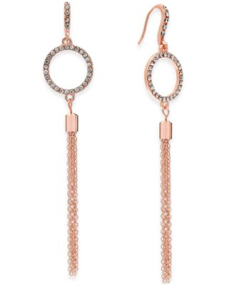Image of INC International Concepts Pavé Circle and Tassel Drop Earrings, Only at Macy's