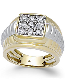 Men's Diamond Square Cluster Two-Tone Ring (1 ct. t.w.) in 10k Gold and White Gold