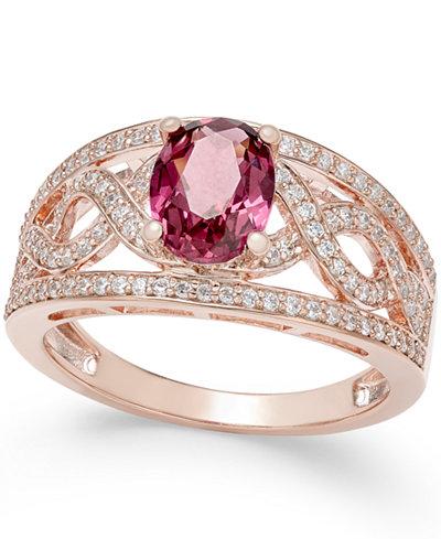 Rhodolite Garnet (1-3/8 ct. t.w.) and Diamond (3/8 ct. t.w.) Openwork Ring in 14k Rose Gold