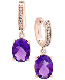 EFFY® Viola Amethyst (3-1/2 ct. t.w.) and Diamond Accent Drop Earrings in 14k Rose Gold
