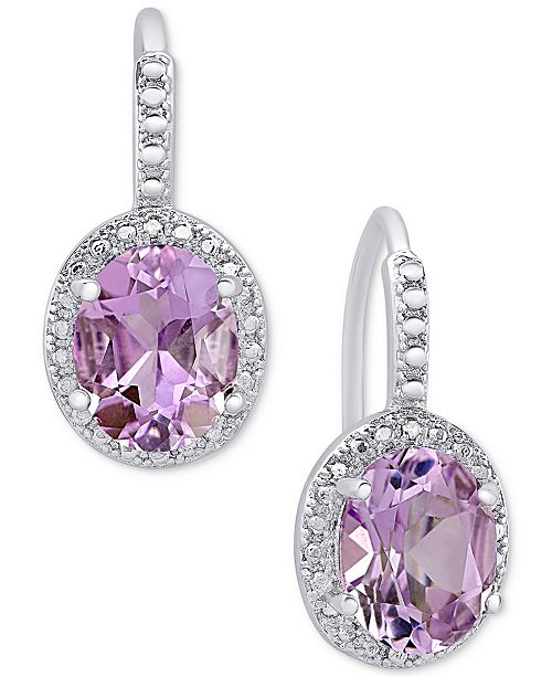 Macy's Amethyst (2-2/5 ct. t.w.) and Diamond Accent Drop Earrings in Sterling Silver