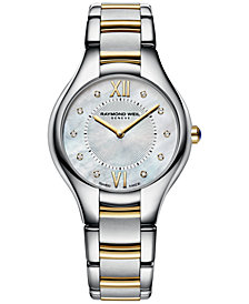 RAYMOND WEIL Women's Swiss Noemia Diamond Accent Two-Tone Stainless Steel Bracelet Watch 32mm 5132-STP-00985