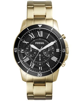 fossil men 39 s chronograph grant gold tone stainless steel. Black Bedroom Furniture Sets. Home Design Ideas