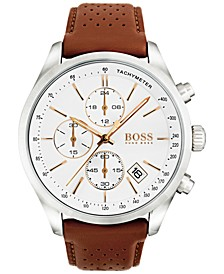 Hugo Boss Men's Chronograph Grand Prix Brown Leather Strap Watch 44mm 1513475