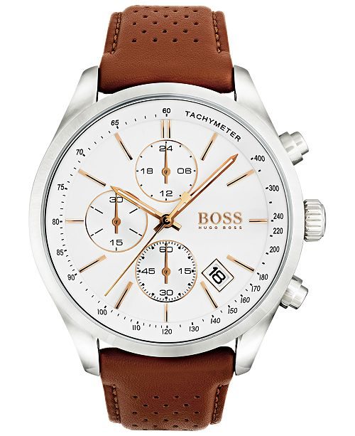 Hugo Boss Men S Chronograph Grand Prix Brown Leather Strap Watch 44mm 1513475