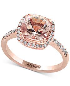 EFFY® Blush Morganite (1-5/8 ct. t.w.) and Diamond (1/4 ct. t.w.) Ring in 14k Rose Gold