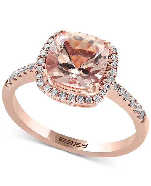 EFFY Collection EFFY® Blush Morganite (1-5/8 ct. t.w.) and Diamond (1/4 ct. t.w.) Ring in 14k Rose Gold