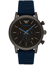 Emporio Armani Men's Chronograph Blue Silicone Strap Watch 46mm AR11023