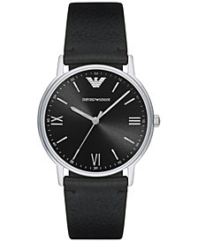 Emporio Armani Men's Black Leather Strap Watch 41mm AR11013