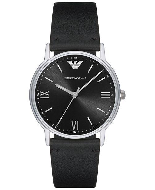 Emporio Armani Men's Black Leather Strap Watch 41mm AR11013