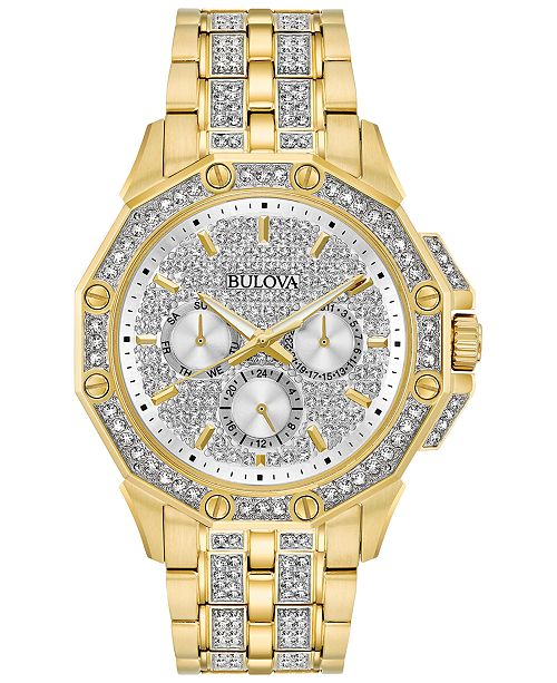 Bulova Men's Crystal Accented Gold-Tone Stainless Steel Bracelet Watch 43mm 98C126
