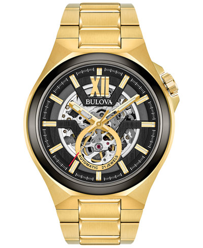 Bulova Men's Automatic Gold-Tone Stainless Steel Bracelet Watch 46mm 98A178