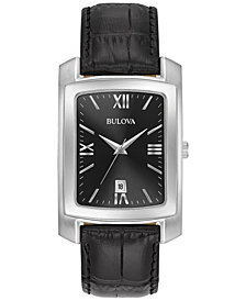 Bulova Men's Black Leather Strap Watch 31x47mm 96B269