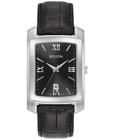 Bulova Men's Black Leather Strap Watch 31x47mm 96B269