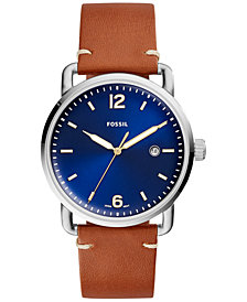 Fossil Men's Commuter Brown Leather Strap Watch 42mm FS5325
