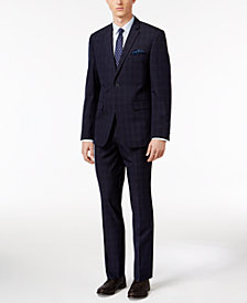 Perry Ellis Portfolio Men's Slim-Fit Navy Plaid Suit