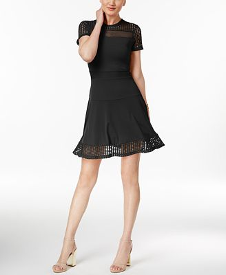 MICHAEL Michael Kors Lace Mesh Fit & Flare Dress