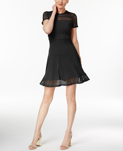 Michael Kors Lace Mesh Fit Flare Dress