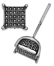 Men's Diamond Square Cluster Stud Earrings (1/4 ct. t.w.) in Sterling Silver