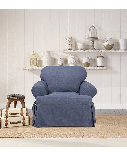Sure Fit Authentic Denim One Piece T Cushion Chair Slipcover