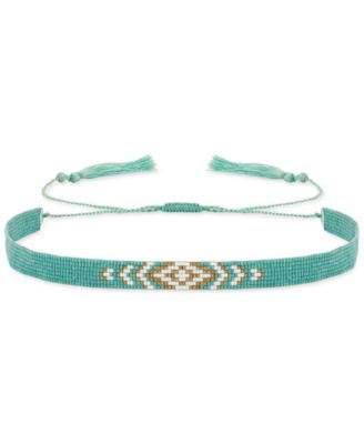 Image of Lucky Brand Gold-Tone Blue-Stone Beaded Choker Necklace