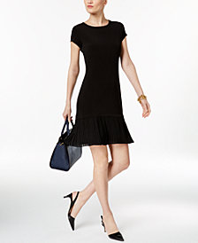 MICHAEL Michael Kors Pleat Hem Fit & Flare Dress in Regular & Petite Sizes
