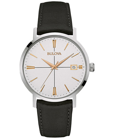 Bulova Men's Black Leather Strap Watch 39mm 98B254