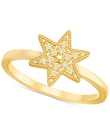 Swarovski Gold-Tone Pavé Star Ring