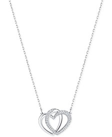 Silver-Tone Pavé Entwined Hearts Pendant Necklace