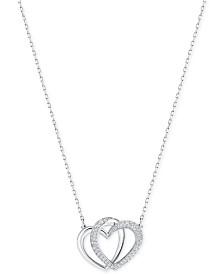 Swarovski Silver-Tone Pavé Entwined Hearts Pendant Necklace