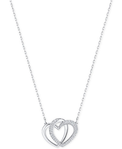 Swarovski silver tone pav entwined hearts pendant necklace swarovski silver tone pav entwined hearts pendant necklace mozeypictures Images