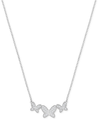 Swarovski Silver-Tone Pav� Butterfly Pendant Necklace