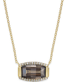 Quartz (3 ct. t.w.) and Diamond (1/8 ct. t.w.) Pendant Necklace in 14k Gold Vermeil over Sterling Silver