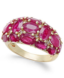 Certified Ruby (6 ct. t.w.) and Diamond (1/8 ct. t.w.) Dome Ring in 14k Gold, Created for Macy's