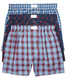 타미 힐피거 속옷 하의 (3pk) Tommy Hilfiger Mens 3 Pack Woven Cotton Boxers